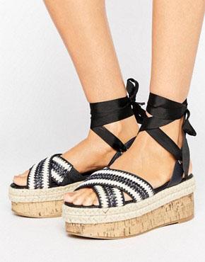 ASOS TYPICAL Chunky Tie Leg Flatforms £30